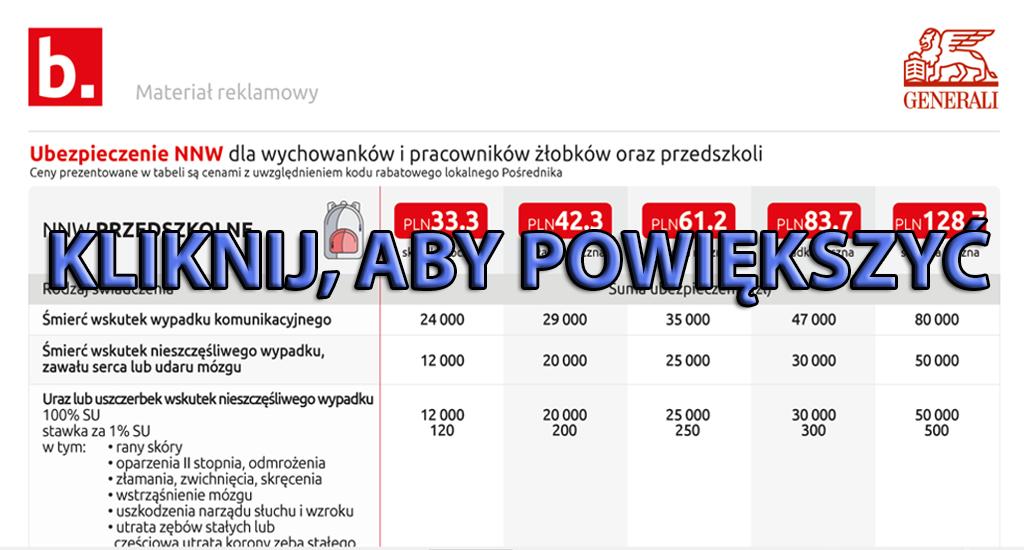 Kod Pośrednika Bezpieczny.pl - NNW Przedszkolne Generali